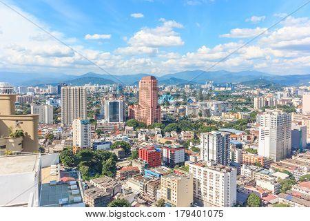 KUALA LUMPUR MALAYSIA - AUGUST 14 2016: Kuala Lumpur cityscape during daylight from the top of Regalia Residence Kuala Lumpur Malaysia.