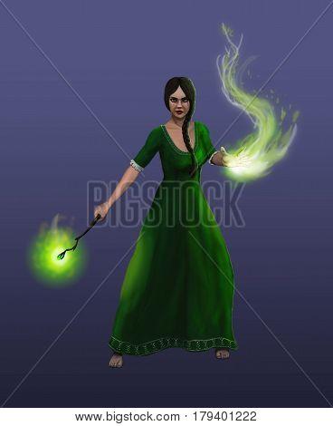 A Girl sorceress conjures a dangerous spell