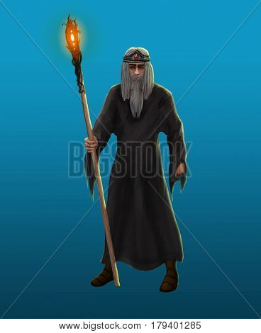 An old gray-haired sorcerer with a beard and a staff