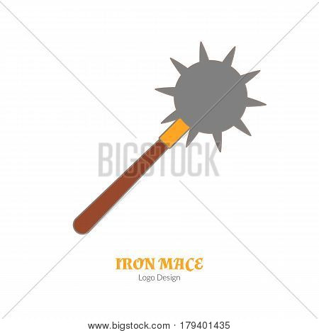 Medieval iron mace morning star. Single logo in flat thin line style isolated on white background. Colorful medieval theme symbol. Simple medieval pictogram logotype template. Vector illustration.