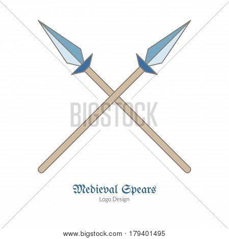 Medieval crossed spears lances. Single logo in flat and thin line style isolated on white background. Colorful medieval theme symbol. Simple medieval pictogram logotype template. Vector illustration
