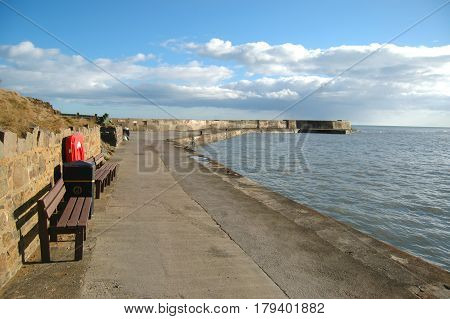 Collieston Harbour with Benches Looking out to the North Sea, Aberdeenshire