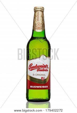 London,uk - March 30, 2017 : Bottle Of  Budweiser Budvar Beer On White, One Of The Highest Selling B