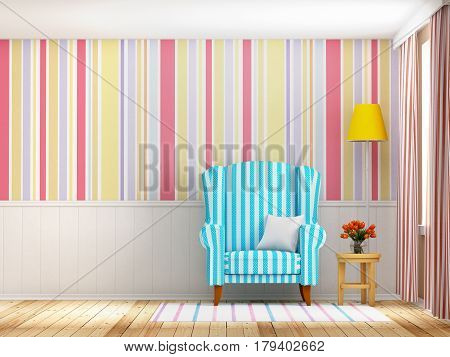 Vintage striped interior with armchair and lamp flat design. 3d illustration.