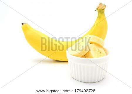 banana and pieces of banana isolated on a white background Closed up