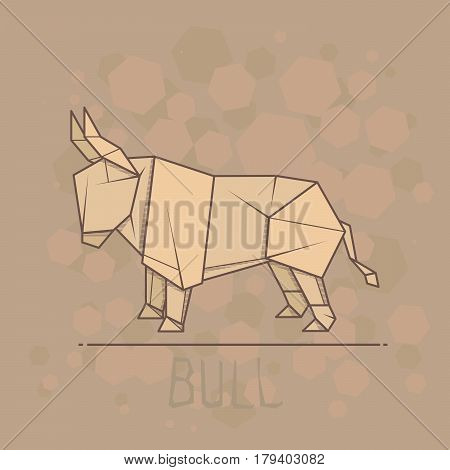 Vector simple illustration paper origami of bull.
