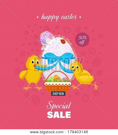Easter sale banner and greeting card. Two nestlings untie the tape on the Easter egg, behind, peeps the cute bunny. Vector illustration. Can be used in banners, brochures, postcards, congratulations.