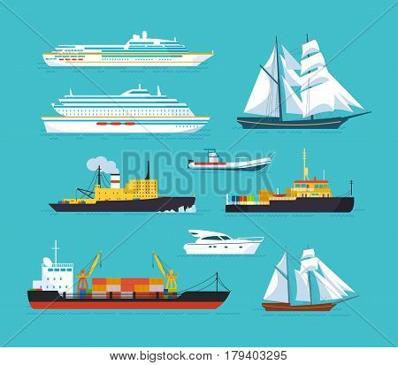 Set of ships in modern flat style: ships, boats, ferries, with blue sea background. Ocean transport concept. Vector illustration isolated
