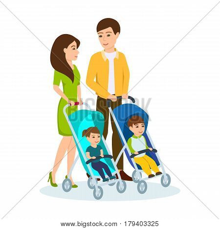 Young family walking in the park, spends time together, the husband and wife driven wheelchairs with children. Vector illustration isolated in cartoon style.