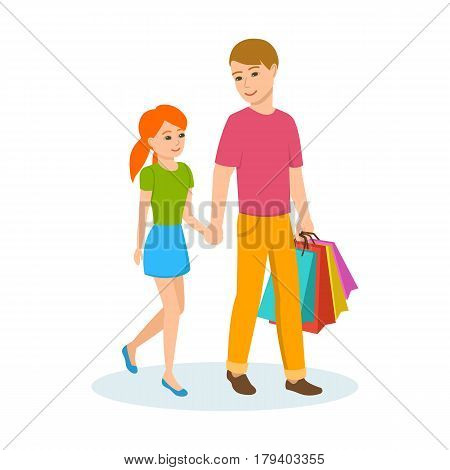 Young dad walking the daughter down the street holding hands, walking in good mood. Vector illustration isolated in cartoon style.