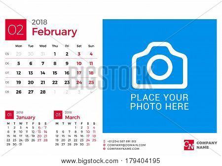 Calendar For 2018 Year. Vector Design Print Template With Place For Photo And Company Logo. February