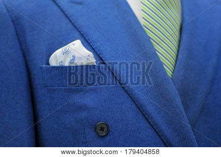Blue Suit With Tie And Handkerchief