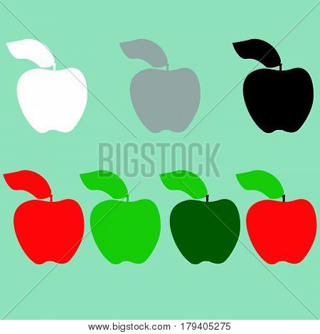 Green Red Black Grey White Apple Icon.