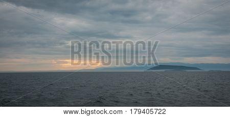 Sunrise over the deepest lake Baikal, Russia