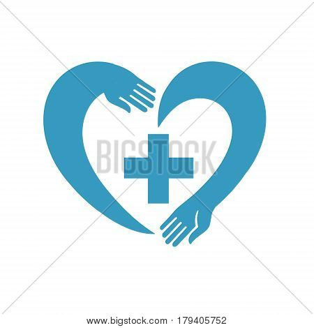icon of heart with a cross. suitable for logo or emblems. creative vector illustration can be used as the logo of the medical institution or pharmacy