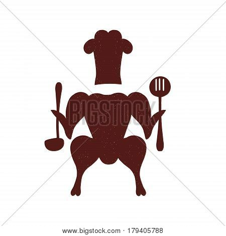 Roasted chicken. Isolated meat on white background. Creative vector illustration can be used as logo or decoration menu