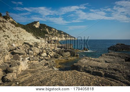 Seascape, Cliffs And Beaches On The Island Of Paxi, Greece