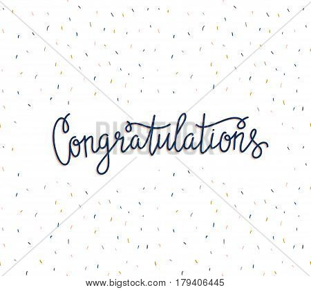 Vector background with stylish lettering - 'Congratulations'. Hand drawn banner. Colorful festive card.