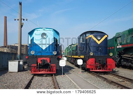 ST. PETERSBURG, RUSSIA - MARCH 30, 2016: A locomotive of TE5-20 and the American locomotive of Da20-09 in the Central museum of Oktyabrskaya Railway