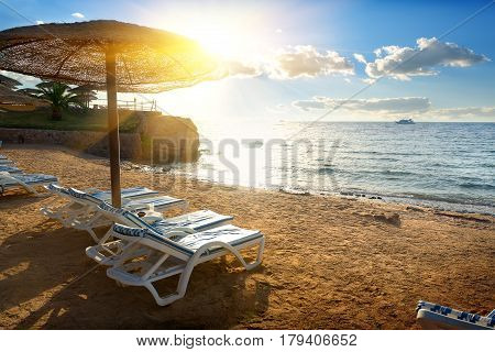 Chaise-longues on a beach of the Red sea