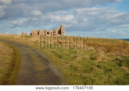 Track leading to Slains Castle, inspiration for Dracula