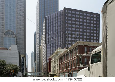 Dallas downtown city views with mixed buildings urban background