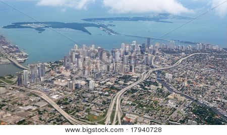 Miami city Downtown aerial view  blue sea buildings town