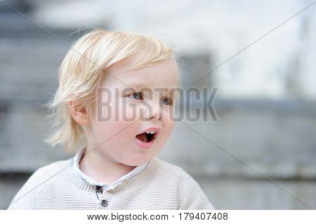 Emotional blonde toddler boy outdoors portrait  close up