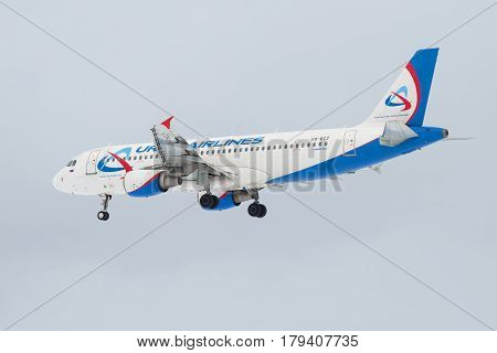 SAINT PETERSBURG, RUSSIA - FEBRUARY 25, 2017: Flying the Airbus A320 (VQ-BCZ) of airline