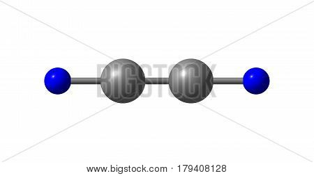 Cyanogen is the chemical compound with the formula CN2. It is a colorless toxic gas with a pungent odor. The molecule is a pseudohalogen. 3d illustration