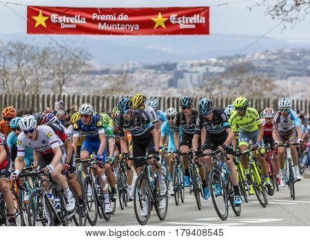 Barcelona Spain - March27 2016: The British cyclist Cristopher Froome riding in the peloton on the road to the top of Montjuic in Bracelona Spain during Volta Ciclista a Catalunya on March 27 2016.