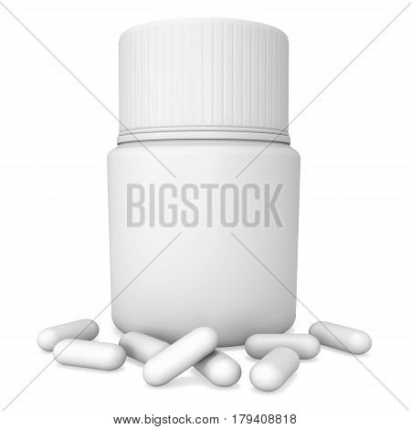 Blank plastic bottle of pills. 3D render illustration isolated on white background. Medical drug pharmacy care and tablet pills antibiotic pharmaceutical