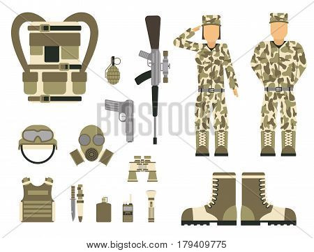Military character weapon guns symbols armor man set forces design and american fighter ammunition navy camouflage sign vector illustration. Uniform battle sniper automatic special tools.