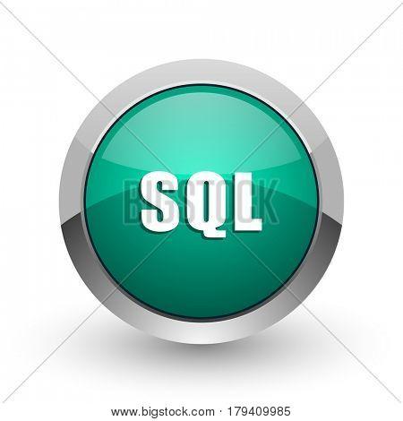Sql silver metallic chrome web design green round internet icon with shadow on white background.
