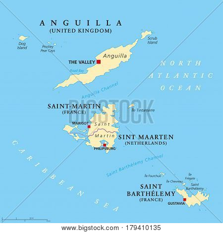 Anguilla, Saint-Martin, Sint Maarten and Saint Barthelemy political map. Islands in the Caribbean, part of Leeward Islands and Lesser Antilles. Gray illustration over white. English labeling. Vector.