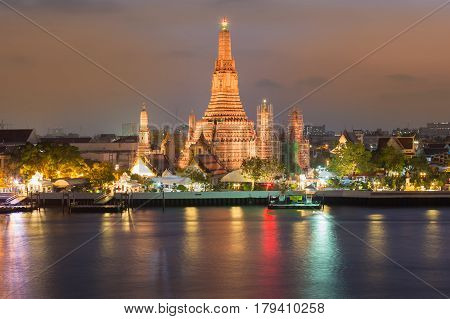 Temple of dawn Arun temple river front night view Thailand landmark