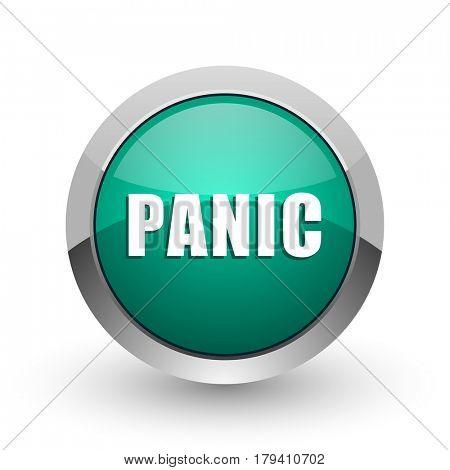 Panic silver metallic chrome web design green round internet icon with shadow on white background.