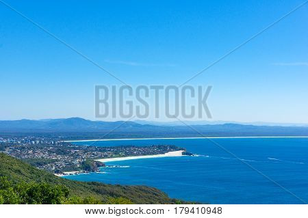 Aerial View Of Beautiful Coastal Landscape With Forest And Ocean