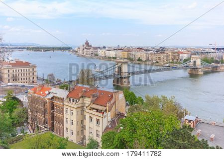 Panorama of Budapest with the Chain Bridge and the hungarian Parliament building Hungary