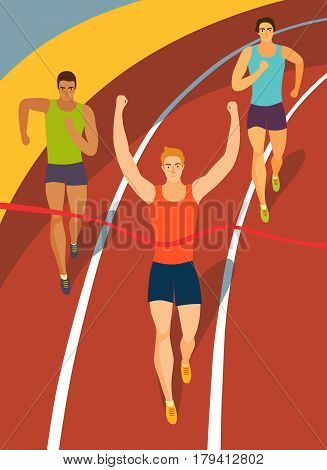 Dynamic running men crossing finish line on stadium.Competition event. Sport illustration for your design.