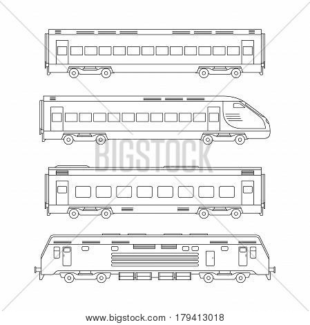 Trains line drawing on white background. Thin illustration of Passenger train.