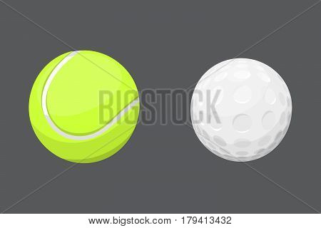 Sport balls isolated tournament win round golf equipment and recreation tennis group traditional different design vector illustration. American many hobbies activity symbol.