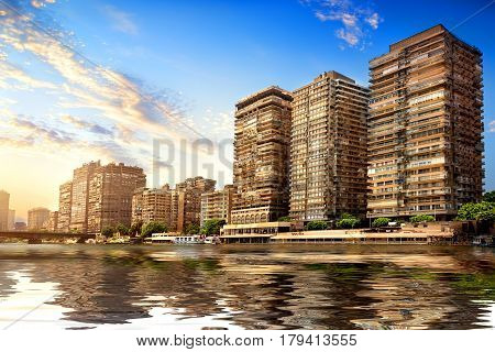Buildings of Cairo on the bank of Nile