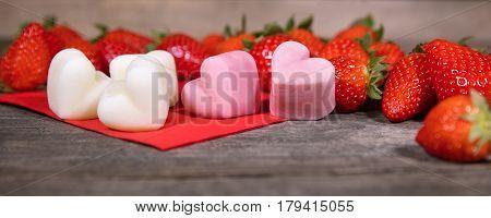 Strawberries And Frozen Yogurt, Froyo Bites In A Heart Shape