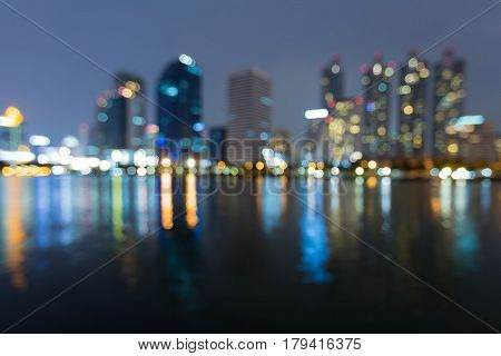 City bokeh light with reflection night view abstract background
