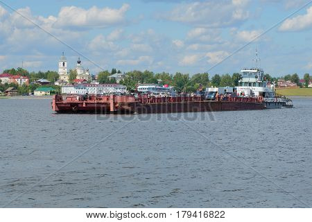 MYSHKIN, RUSSIA - JULY 13, 2016: Tugboat