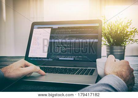 coding code program programming developer compute web development coder work design software closeup desk write workstation key password theft hacking firewall concept