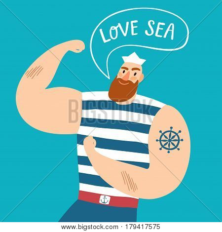 Mighty pirate sailor with speech bubble. Love sea title. Cartoon illustration for your design.