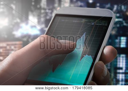 trader broker forex investment hold smartphone stock market chart screen