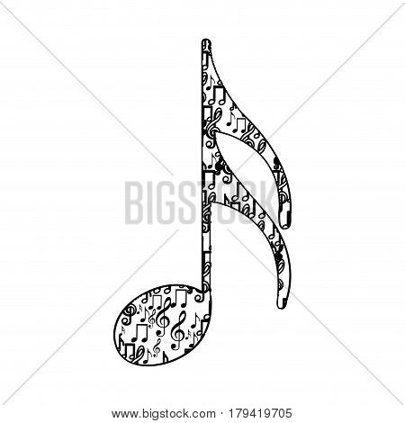 semiquaver note monochrome silhouette formed by musical notes vector illustration